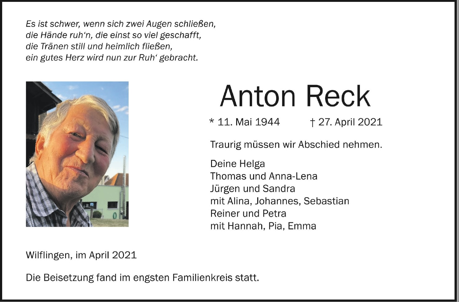 Traueranzeige Anton Reck